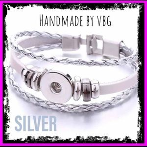 🆕 Silver Braided Leather Trending Snap Bracelets